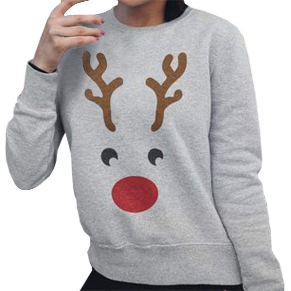 POIUDE Christmas Women Sweatshirt Sale Plus Size Ladies Fashion Christmas Casual Elk Printed Pullover T Shirts Tops POIUDE-baby clothes