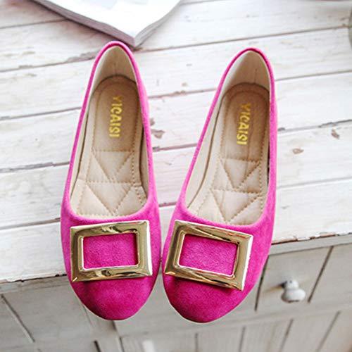 Mou Mocassins Boucle Chaussure Ballerines Bureau Daim Peu Rouge Bateau Fond Rose Chaussures Profond Marche Femme De Ballet Fête Daytwork Carrée OqX7xX