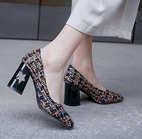 MissSaSa Damen Blockabsatz ohne Ankle Strap Pumps Mehrfarbig