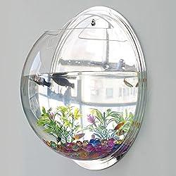 Acrylic Wall Mount Hanging Fish Bowl Aquarium Tank Goldfish Hanger Plan, water and goldfish, through light