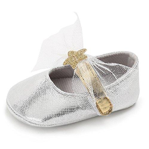 Zapatos de bebé,Auxma Zapatos de Bowknot de los bebés Princesa Suela Suela Zapatos Para 3-6 6-12 12-18 mes Plata