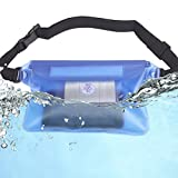 TEKCAM Adjustable Transparent Waterproof Waist Pouch with 3 Inner Zipper Locks for Camping, Beach, Swimming, Boating
