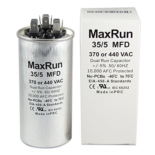 Motor Run - MAXRUN 35+5 MFD uf 370 or 440 Volt VAC Round Motor Dual Run Capacitor for AC Air Conditioner Condenser - 35/5 uf MFD 440V Straight Cool or Heat Pump - Will Run AC Motor and Fan - 1 Year Warranty