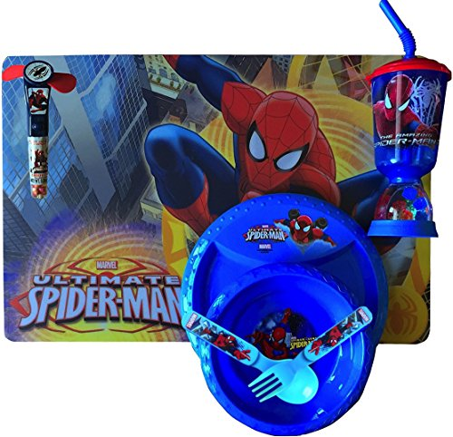 Spiderman Dinnerware/lunch Gift Set Includes Spiderman Lunch Placemat , Spiderman 8.5 in Plate, Spiderman 6.5 Bowl, Spiderman Cool Drinking CUP and Utensils with Bonus Candy Fan Dispenser