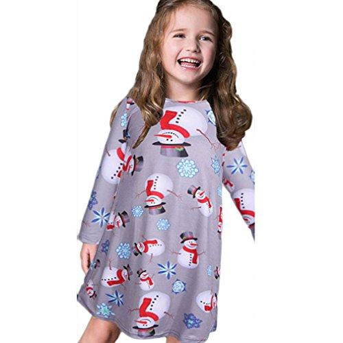 Hot Sale!Dress,BeautyVan Fashion Beautiful Kids Girls Baby Xmas Long Sleeve Snowman Christmas Print Swing Dress (8-10Y, Gray)