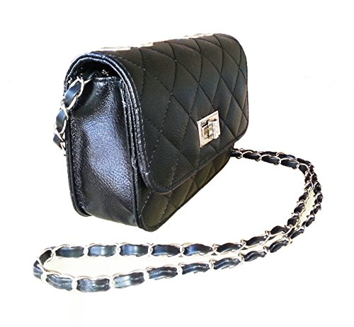 Aimerfeel falso acolchado de hombro bolso de cuero del estilo del diseñador con cadena larga, negro, blanco o beige schwarz