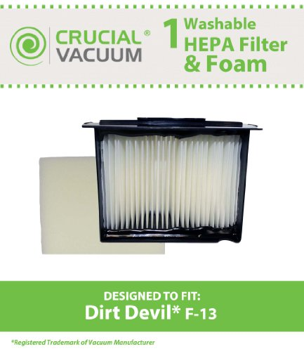 1 Dirt Devil F13 (F-13) Washable HEPA Filter Plus Foam Fits Reaction Dual Cyclonic, Reaction All-Surface, Reaction Fresh, and Action Vacuum Cleaners: Compare to Dirt Devil F-13 Filter Part # 3LK0540001; Designed & Engineered By Crucial Vacuum