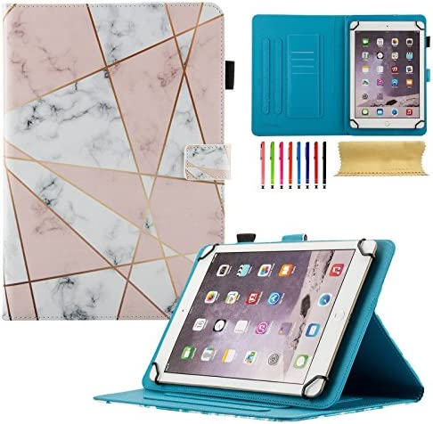 Uliking Universal Case for 7 inch Tablet (6.5″-7.5″), PU Leather Stand Cover [Card/Stylus Holder] for Galaxy Tab A 7.0, Kindle Fire 7, Galaxy Tab 3/Tab E Lite 7.0 and Other Models, Pink Marble