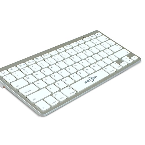 BATTOP Wireless Bluetooth Keyboard For IPad / IPhone /PC/ IOS System (Apple Style Keyboard) Silver Color