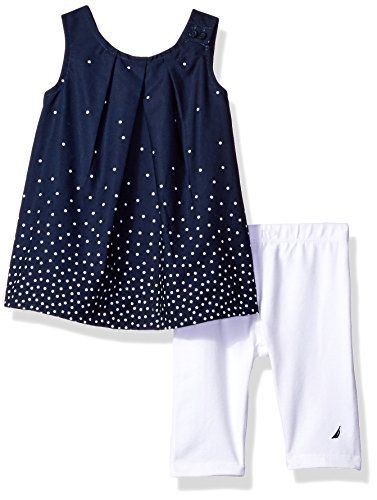 Nautica Baby Girls' Fashion Top with Capri Legging Set,Navy Stars,0/3 Months (Girls Baby Clothes Capri)
