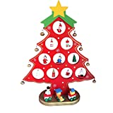 """Wekee DIY 9.8""""x 7.8"""" Wooden Mini Christmas Tree Desk Decoration Home Xmas Ornament for Party, Club, Children's Gift,Red"""