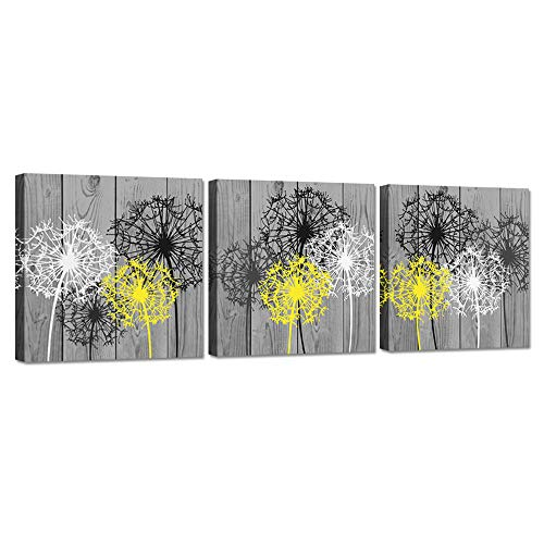 iHAPPYWALL 3 Pieces Bathroom Canvas Wall Art Bath Flowers White Yellow Dandelion Prints Floral Picture Print On Grey Wood Background Stretched and Framed for Rustic Home Decor Ready to Hang (Art Bathroom Yellow Wall)