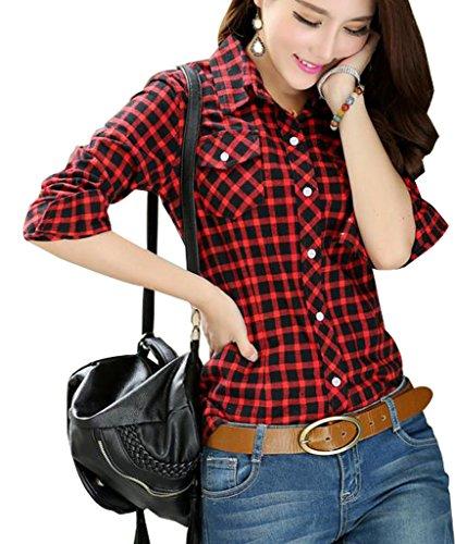XTX Womens Casual Cotton Long Sleeve Lapel Button Down Plaid Shirt Blouses