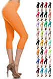Leggings Depot Women's Popular Basic Capri Cropped Regular and Plus Solid High Waist Leggings 33+ Colors (3X-5X, Orange)