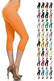 Leggings Depot Women's Popular Basic Capri Cropped Regular and Plus Solid High Waist Leggings 33+ Colors (3X-5X, Orange)