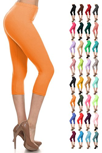 Leggings Depot Women's Popular Basic Capri Cropped Regular and Plus Solid High Waist Leggings 33+ Colors (3X-5X, Orange) by Leggings Depot