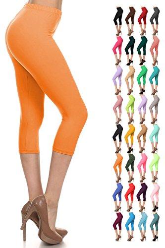 Leggings Depot Women's Popular Basic Capri Cropped Regular and Plus Solid High Waist Leggings 33+ Colors (3X-5X, Orange) by Leggings Depot