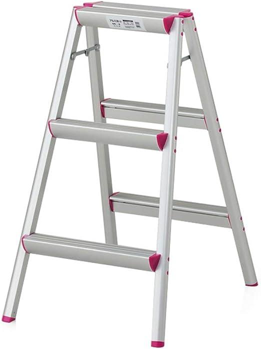 Silla de la Escala, hogar, escaleras Plegables, el Aluminio Multifuncional Escalera, 1/2/3 Pasos: Amazon.es: Hogar