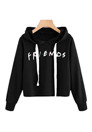 926f72bd2314f LHAYY Women s Casual Loose Top Cotton Friends Letters Print Pullover  Sweatshirt (Black