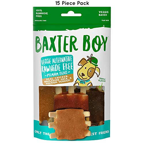 Baxter Boy Rack of Ribs Premium Natural Dog Treats Chews with Real Chicken Duck & Chicken Liver - Rawhide Free, 15 Pieces (5 Packs with 3 per Pack) - Gourmet Quality Fresh & Tasty