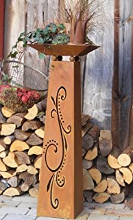 Holz Deko Säule flambiert mit rostiger Pflanzschale: Amazon.de: Garten
