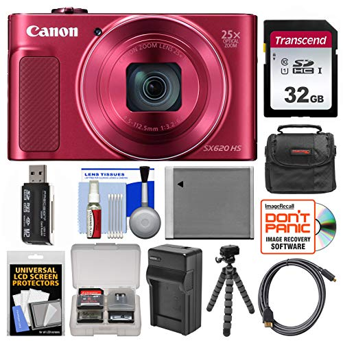 Canon PowerShot SX620 HS Wi-Fi Digital Camera (Red) with 32GB Card + Case + Battery + Charger + Flex Tripod + HDMI Cable + Kit