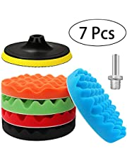 Buffing Pad and Polishing Pads Kit, Sponges Foam Buffer Pads 6/5 Inch Hook and Loop for Drill Cleaner Tool, Boat Paint Pads Repair Headlight