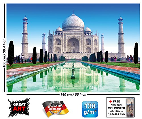 Poster - Taj Mahal Wall Decoration - Wonder of The World Wallpaper Indian Monument Royal Tomb and Mosque Mural Culture in India Colors (55 x 39.4 Inch/ 140 x 100 cm)