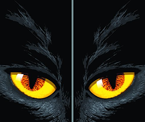 (WOWindow Posters Yellow Eyed Cat Halloween Window Decoration Includes Two 34.5