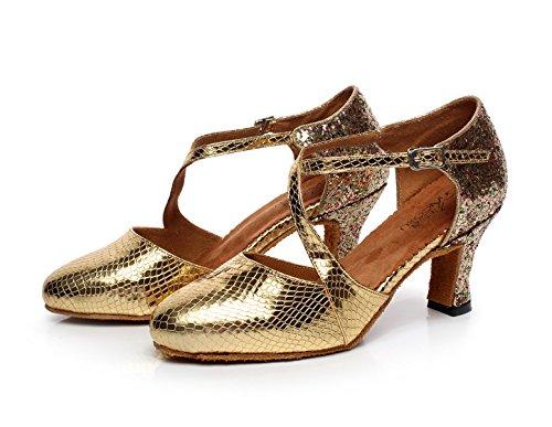 JSHOE Talon De Chaton En Cuir Pailleté Des Femmes Chaussures De Danse Latine Ballroom / Tango / Chacha / Samba / Moderne / Jazz Chaussures Sandales Talons Hauts,Gold-heeled7cm-UK5/EU37/Our38