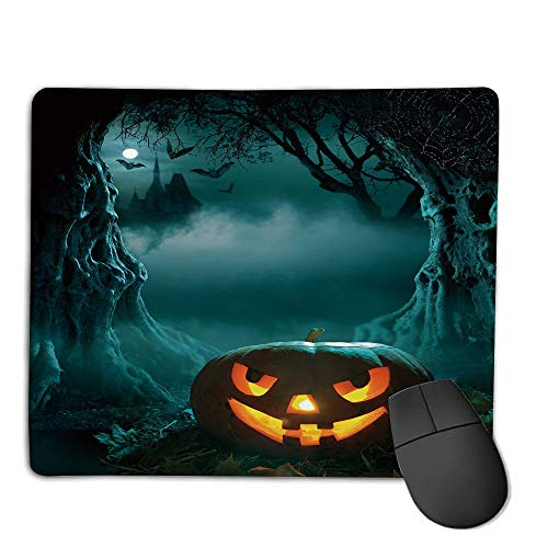Mouse Pad Bundle Stitched Edges Premium Waterproof Mouse Mat Pad,Halloween,Carved Pumpkin in Dark Misty Forest Ancient Trees Gloomy Scenic Horror Theme,Teal Orange,Consoles More Enjoy Precise & SMO]()