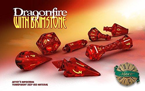 PolyHero Dice: Wizard 7 dice Set: Dragonfire/Brimstone (Wizard Set)