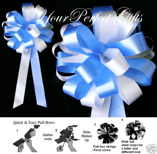 BABY LIGHT BLUE WHITE WEDDING 8'' PEW BOWS BRIDAL SHOWER