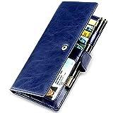 Huztencor Leather Checkbook Cover RFID Blocking Checkbook Wallet Holder Case Slim Bifold Wallet For Men & Women with Credit Card Holder Wallet Pen Holder Snap Closure Zipper Pocket Blue