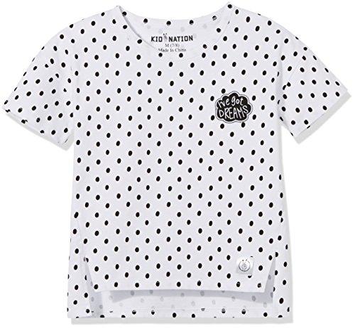 Kid Nation Girls' 100% Cotton Hi-Low Fashion Patch Tag-Free Crewneck T-Shirt Top S White