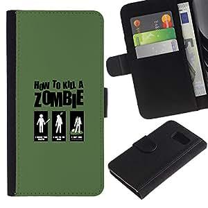 LECELL--Cuero de la tarjeta la carpeta del tirón Smartphone Slots Protección Holder For Sony Xperia Z3 Compact -- Zombie Killing Guía divertido --