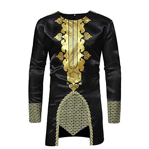 Faionny African Dashiki Men Slim Tops Hot Gold Printed Blouse Long-Sleeved Lapel Shirt