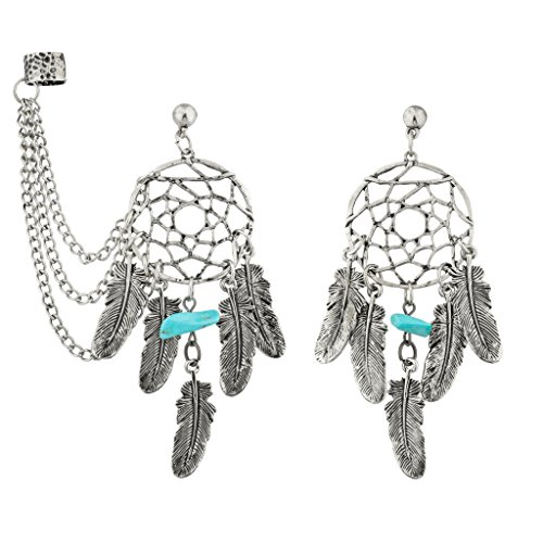 Lux Accessories Dreamcatcher Leaf Turquoise Stone Dangle Earrings w/ Chain Cuff.
