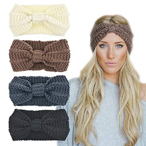 4cdbf948f8f DRESHOW Crochet Turban Headband for Women Warm Bulky Crocheted Headwrap (4  pack knot  black