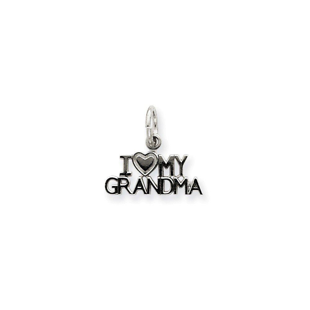 14K White Gold I Love My Grandma Charm Pendant 0.47 in x 0.59 in