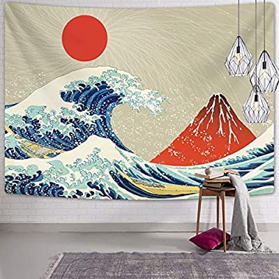 The Great Wave Off Kanagawa Tapestry, Wave Tapestry with Volcano Red Sun Tapestries Japanese Tapestry Wall Hanging for Room