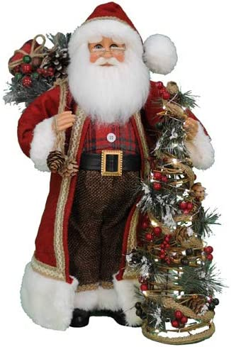 Karen Didion Originals Lighted Woodland Pine Santa Figurine, 17 Inches – Handmade Christmas Holiday Home Decorations and Collectibles