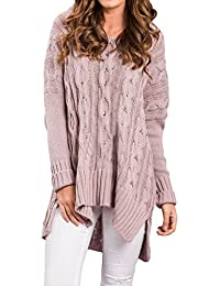 Womens Sexy Casual Knitted V Neck Loose Pullover Top Sweater