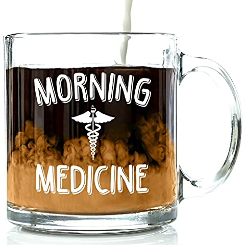 Morning Medicine Funny Glass Coffee Mug 13 oz - Best Birthday Gifts For Men and Women, Him or Her, Mom or Dad from Son or Daughter - Unique Christmas Present Idea For Coworker, Boss, Doctor, - Christmas Presents