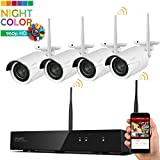 [Dream Liner & Color Night Vision] WOS1384-NC xmartO 8CH 960p HD Expandable Wireless Security Camera System with 4x 960p HD WiFi Night Color Outdoor IP Cameras (Built-in Router, Expandable, No HDD)