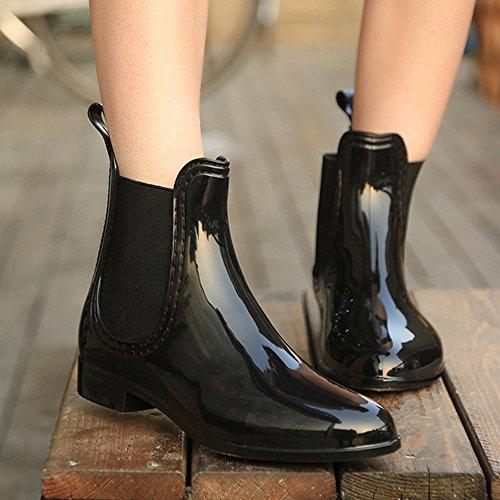 Boots Ankle Rain Waterproof Non slip Girl Boots Rubber for JACKSHIBO Wellington Black Women Fashion qAzSwv