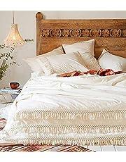 Flber White Cotton Tassel Duvet Cover,King Full Queen,King