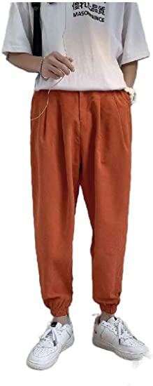 cheelot Mens Solid Color Harem Summer Oversized Tapered Joggers Pants