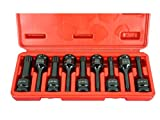 TEMO 9 PC Spline 12 point 3 inch (76mm) Long Black Impact Bit Socket Set 1/2 inch (12.7mm) Square Drive Auto Repair Tool