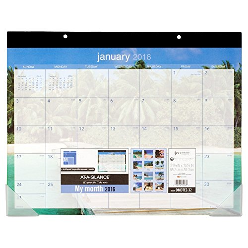 AT-A-GLANCE Desk Pad Calendar 2016, Tropical Escape, 21-3/4 x 15-1/2 Inches (DMDTE2-32)